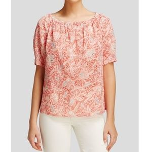 Tory Burch Pink Printed Peasant Top Blouse Size 2